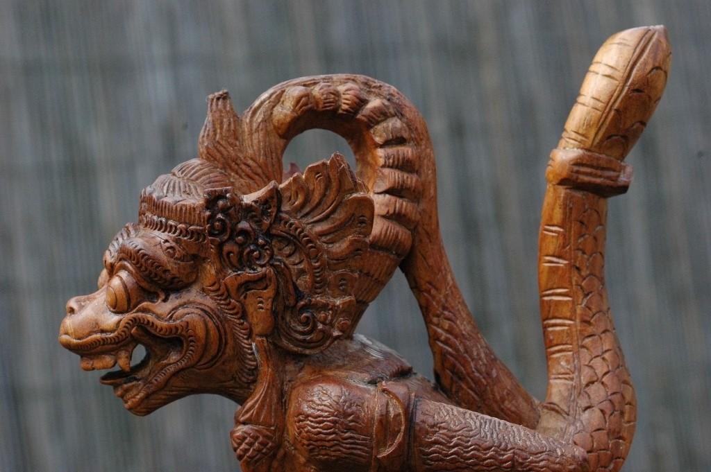Hanuman vecht met slang of Naga
