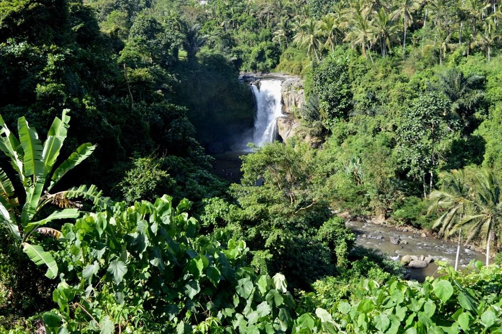 De Tegenungan Waterval, in de heilige rivier van Petanu River.