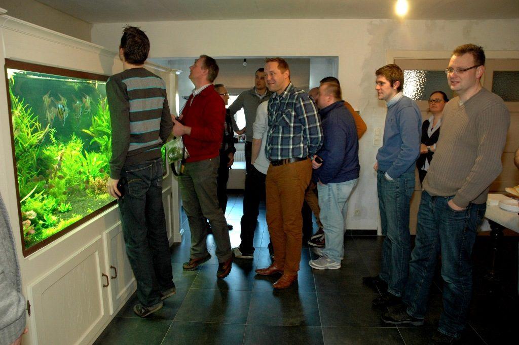 Het grote indrukwekkende aquarium van Kristof Vanhoutte, een aquarium van 2 kubieke meter.